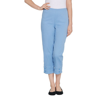 "Denim & Co. ""How Timeless"" Stretch Pull-on Crop Pants with Button Detail"