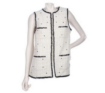 Luxe Rachel Zoe Patch Pocket Vest with Sequin Trim - A209411