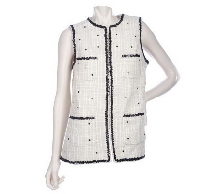 Luxe Rachel Zoe Patch Pocket Vest with Sequin Trim