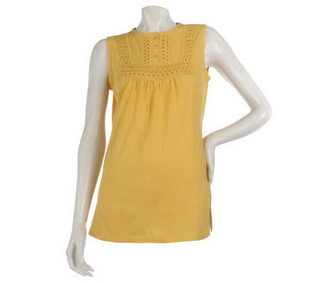 Liz Claiborne New York Crochet Trim Sleeveless Tunic