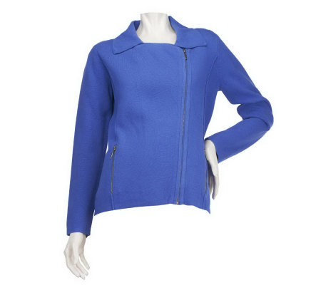 M by Marc Bouwer Asymmetrical Zip Front Sweater Jacket