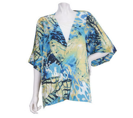 George Simonton Butterfly Print Dolman Sleeve Jacket with Tie Front