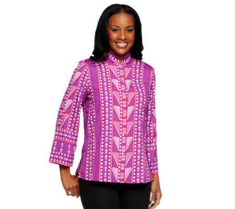 Bob Mackie's Mandarin Collar Marquetry Print Button Front Blouse - A226911
