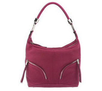 B. Makowsky Zip Top Leather Hobo Bag with Zipper Pockets - A229011