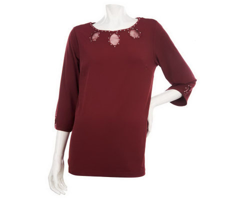Quacker Factory Sparkle Keyhole 3/4 Sleeve Top