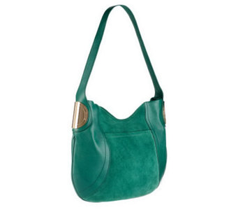 B.Makowsky Giamma Leather & Suede Hobo Bag with Hinge Hardware - A236111