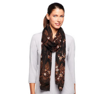 "Nicole Richie Collection 19"" x 85"" Border Print Scarf - A236311"