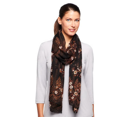 "Nicole Richie Collection 19"" x 85"" Border Print Scarf"