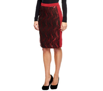 Bob Mackie's Elastic Waist Knee Length Sequin Panel Skirt - A237611