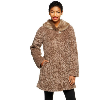 Dennis Basso Sculpted Faux Fur Swing Coat w/ Faux Fur Collar