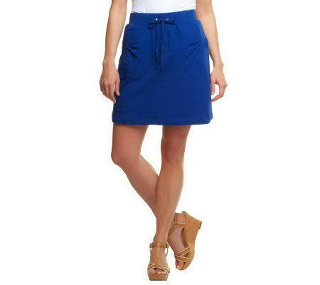 """As Is"" Susan Graver French Terry Pull-on Skort with Pockets"