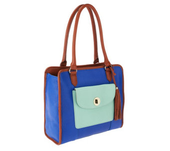 Isaac Mizrahi Live! Bridgehampton Color-Block Leather Satchel - A253911