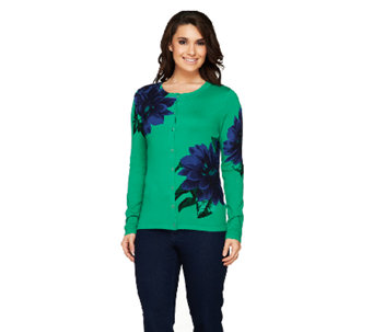 Isaac Mizrahi Live! Exploded Placed Floral Cardigan - A258411