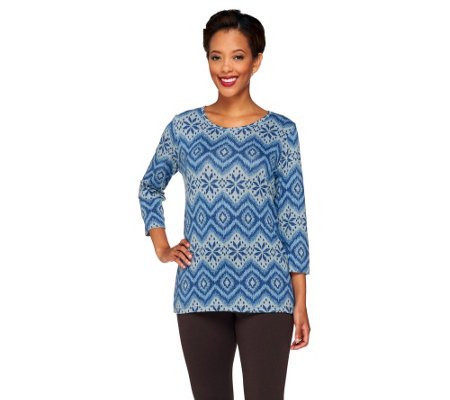 Denim & Co. Heavenly Jersey Stripe Tribal Print Knit Top