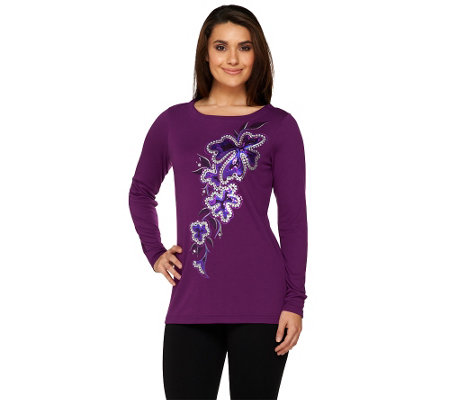 Bob Mackie's Spangled Floral Pullover Top with Bateau Neckline