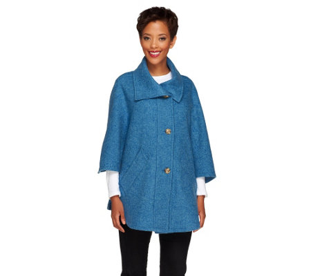 Boyne Valley Weavers Button Front Cape with Pockets