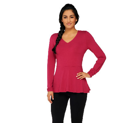 Isaac Mizrahi Live! Long Sleeve Knit Peplum Top