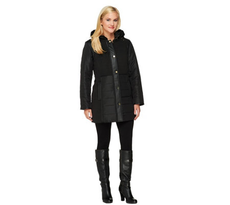 Susan Graver Puffer Coat with Hardware Detail and Removable Hood