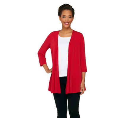 Susan Graver Liquid Knit 3/4 Sleeve Cascading Front Cardigan