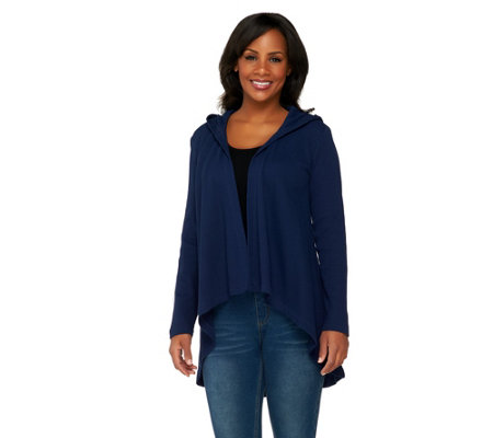 Denim & Co. Active Waffle Knit Drape Front Hoodie Cardigan