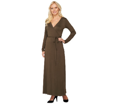 Lisa Rinna Collection Regular Long Sleeve Wrap Maxi Dress