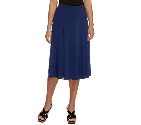 """As Is"" Susan Graver Premier Knit Regular Pull-on Six Gore Skirt"