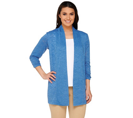 Susan Graver Sweater Knit 3/4 Sleeve Open Front Cardigan
