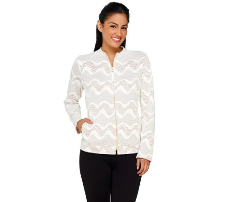 George Simonton Long Sleeve Bonded Crochet Zip Front Jacket