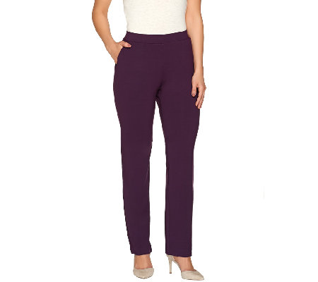 Susan Graver Dolce Knit Comfort Waist Straight Leg Pull-On Pants
