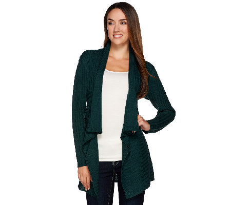 Dennis Basso Shawl Collar Open Front Cardigan with Cable Detail