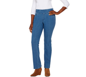 "Denim & Co. ""How Smooth"" Petite Lightly Bootcut Jeans - A269211"