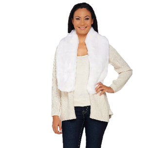 H by Halston Silk-Cashmere Blend Cardigan with Removable Faux Fur Collar - A269411