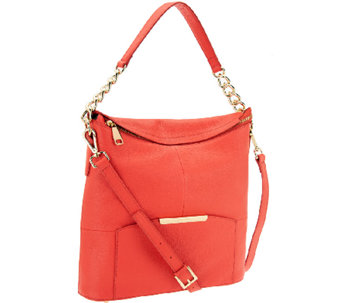 """As Is"" Marc Fisher Cora Leather Convertible Zip Top Hobo - A269711"