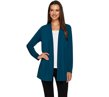 Susan Graver Liquid Knit Open Front Cardigan with Lace Inset