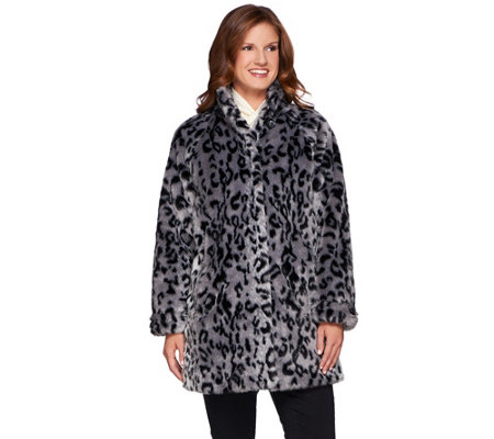 Dennis Basso Platinum Collection Animal Print A-Line Coat