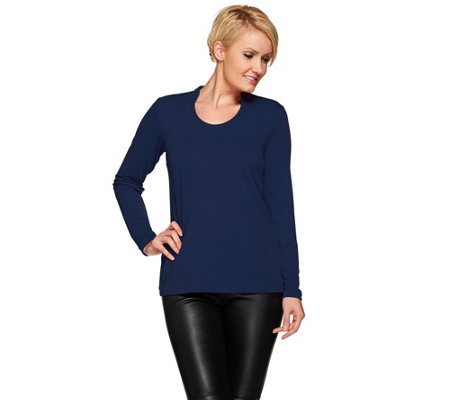 Susan Graver Passport Knit Long Sleeve U-Neck Top
