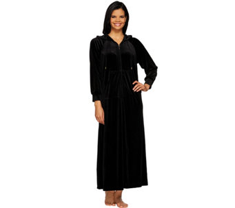 Joan Rivers Petite Length Zip Front Velour Lounger with Hood - A271911