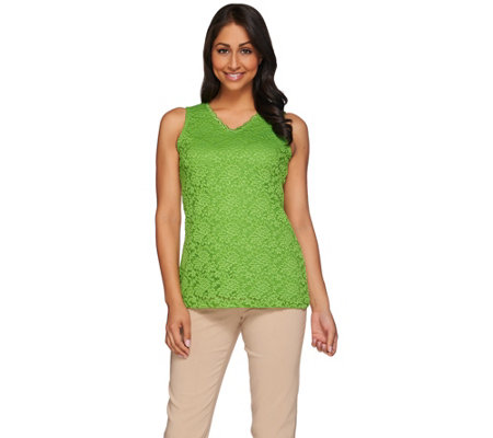 Susan Graver Essentials Liquid Knit Tank Top with Lace Front