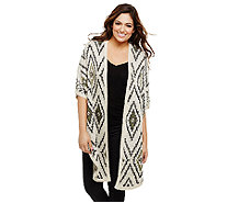 Bethany Mota Open Front Jacquard Cocoon Cardigan - A273811