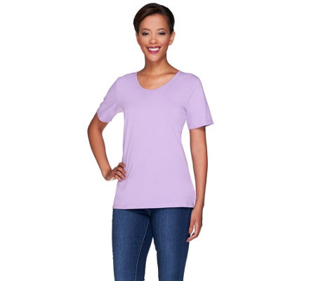 """As Is"" Denim & Co. Essentials Scoop Neck T-Shirt with Trim Details"