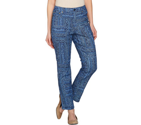 C. Wonder Geo Print 5-Pocket Slim Leg Ankle Jeans