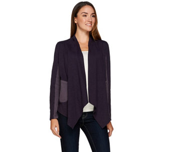"""As Is"" LOGO by Lori Goldstein Drape Front Jacket with Rib Knit Detail - A277611"