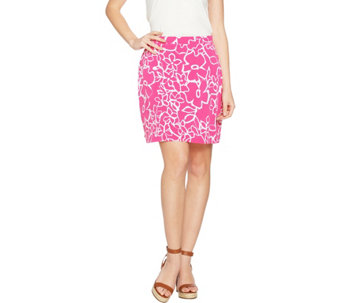 Susan Graver Printed Liquid Knit Pull-On Skort - A277811