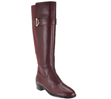 """As Is"" Isaac Mizrahi Live! Leather Riding Boots - Wide Calf"