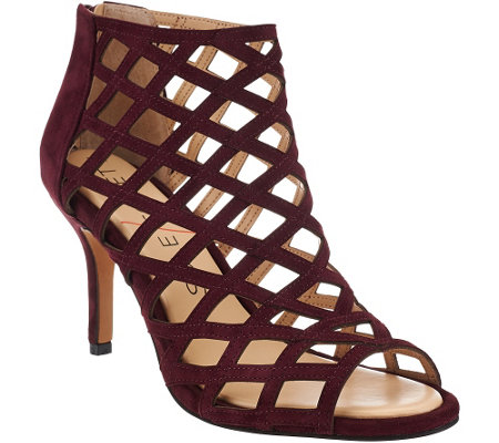 """As Is"" Sole Society Suede Caged High-heeled Sandals -Portia"