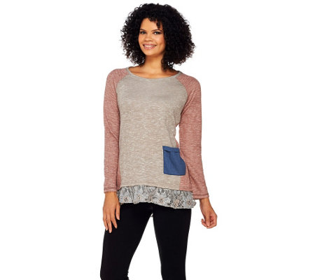 """As Is"" LOGO by Lori Goldstein Slub Terry Color Block-Top with Lace Trim"