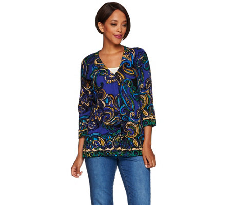 Isaac Mizrahi Live! Engineered Paisley Print Cardigan