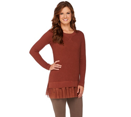 """As Is"" LOGO by Lori Goldstein Cotton Cashmere Waffle Sweater with Tulle Hem"