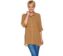 Joan Rivers Lightweight Textured Button Front Shirt - A279711