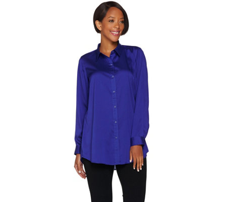 Joan Rivers Silky Girlfriend Shirt with Back Slit Detail